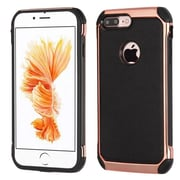 Insten 2-Layer Hybrid Rubber Hard Plastic Chrome Case For iPhone 7 Plus - Black/Rose Gold