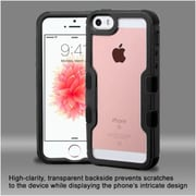 Insten Hard Hybrid Crystal Silicone Bumper For Apple iPhone SE / 5 / 5S - Black/Clear