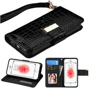 Insten Black Crocodile Embossed Wallet Leather Case For iPhone SE 5 5S (with Lanyard / Card Cash slots /Kickstand)