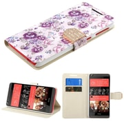 Insten Flowers Book-Style Leather Fabric Cover Case w/stand/card slot/Diamond For HTC Desire 626/626s - Purple/White