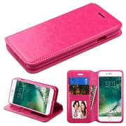 Insten Flip Leather Cover Stand with card slot & photo display For Apple iPhone 7 - Hot Pink