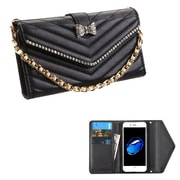 Insten Magnetic Latch Leather Wallet Case with Bracelet ID Credit Card slot Diamond For Apple iPhone 7 - Black