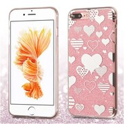 Insten Hearts Pink Glitter Clear Rubber Case Cover For Apple iPhone 7 Plus