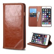 Insten Folio Leather Fabric Case w/stand/card holder For Apple iPhone 6 Plus - Brown