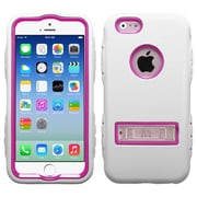 Insten Hot Pink/White TUFF Hybrid Rugged Shockproof Silicone Hard Metal Stand Case for iPhone 6S 6 4.7""