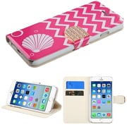 "Insten Shell Flip Leather Fabric Cover Case w/stand/card holder/Diamond For iPhone 6S 6 4.7"" - Pink/White"