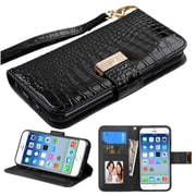 Insten Folio Leather Crocodile Cover Case Lanyard w/stand/card slot/Photo Display For Apple iPhone 6/6s - Black