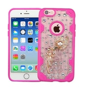 Insten Flower 3D Crystal Diamond Bling Diamante Hard Case Cover for iPhone 6s 6 - Clear/Hot Pink