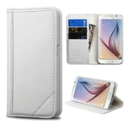 Insten Book-Style Leather Fabric Case w/stand/card slot For Samsung Galaxy S6 - White