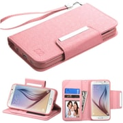 Insten Folio Leather Fabric Case Lanyard w/stand/card holder/Photo Display For Samsung Galaxy S6 - Pink