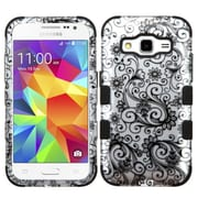 Insten Tuff Four-leaf Clover Hard Dual Layer Rubber Coated Cover Case For Samsung Galaxy Core Prime - Black/White