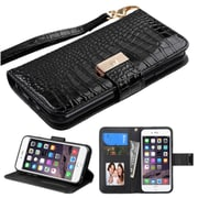 Insten Folio Leather Crocodile Case Lanyard w/stand/card holder/Photo Display For Apple iPhone 6 Plus/6s Plus - Black