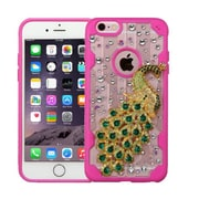 Insten Luxury Peacock 3D Crystal Diamond Bling Diamante Hard Case Cover for iPhone 6s Plus / 6 Plus - Clear/Hot Pink