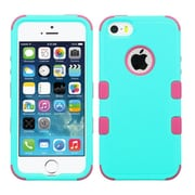 Insten Tuff Hard Hybrid Rubber Coated Silicone Cover Case For Apple iPhone SE 5S 5 - Teal/Pink