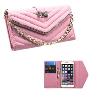 Insten Book-Style Leather Fabric Case Chain w/card slot/Diamond For Apple iPhone 6 Plus - Pink