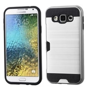 Insten Hard Hybrid Dual Layer Rubber Coated Silicone Case w/card holder For Samsung Galaxy E5 - Silver/Black