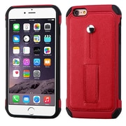 Insten Leather Hybrid Fabric Silicone Case w/Ring stand For Apple iPhone 6s Plus / 6 Plus - Red/Black