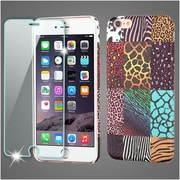 Insten Zebra Leather PU Leather Print Case For iPhone 6s Plus / 6 Plus - Colorful (with Tempered Glass Screen Protector)