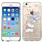 Insten Butterfly Lovers Hard 3D Crystal Cover Case w/Diamond For Apple iPhone 6 - Clear/Blue