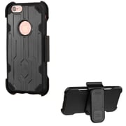 Insten Hard Hybrid Dual Layer Plastic Silicone Cover Case w/Holster For Apple iPhone 6 / 6s - Black