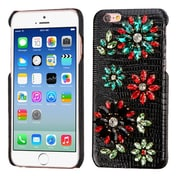 Insten Flowers Leather 3D Fabric Hard Cover Case w/Diamond For Apple iPhone 6 / 6s - Black/Colorful