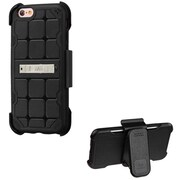 Insten Hard Rubber Coated Cover Case w/stand/Holster For Apple iPhone 6 / 6s - Black