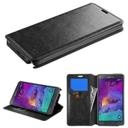 Insten Book-Style Leather Fabric Case w/stand/card slot For Samsung Galaxy Note 4 - Black