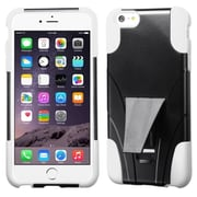 """Insten T-Stand Hard Hybrid Plastic Silicone Case with Stand For iPhone 6 Plus / 6S Plus 5.5"""" - Black/White"""