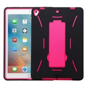 "Insten Soft Hybrid Rubber Hard Case w/stand For Apple iPad Pro (9.7"") - Black/Hot Pink"