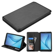 Insten Book-Style Leather Fabric Cover Case w/stand/card slot For Samsung Galaxy Tab E 8 - Black