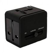 IOCrest Universal International World Wide Multi Travel Plug Charger Adapter 2 Dual USB Port (US / UK / EU / AU) - Black