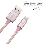 Insten 4 Feet 4' Rose Gold Apple MFi Certified Braided Lightning Durable Cable Charger Cord