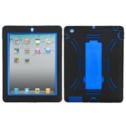 Insten Symbiosis Silicone Dual Layer Rubber Hard Case w/stand For Apple iPad 2 / 3 / 4 - Black/Blue