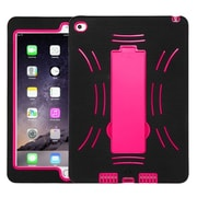 Insten Symbiosis Skin Hybrid Rubber Hard Cover Case with Stand For Apple iPad Air 2 - Black/Hot Pink