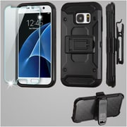 Insten Kinetic Hard Hybrid Holster Case (with Tempered Glass Screen Protector) For Samsung Galaxy S7 - Black
