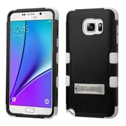 Insten Hard Hybrid Rubberized Silicone Cover Case w/stand For Samsung Galaxy Note 5 - Black/White