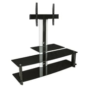 Mount-It!  TV Stand wIth Mount, 3 Glass Shelves and AlumInum Columns (MI-869)