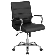 Mid-Back Black Leather Executive Swivel Office Chair with Chrome Arms [GO-2286M-BK-GG]