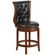 26'' High Brandy Wood Counter Height Stool with Black Leather Swivel Seat [TA-2301226-B-CTR-GG]