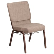 HERCULES Series 18.5''W Fabric Church Chair with 4.25'' Thick Seat, Cup Book Rack