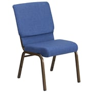 HERCULES Series 18.5''W Blue Fabric Stacking Church Chair with 4.25'' Thick Seat - Gold Vein Frame [FD-CH02185-GV-BLUE-GG]