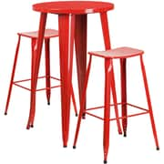 24'' Round Red Metal Indoor-Outdoor Bar Table Set with 2 Backless Saddle Seat Barstools [CH-51080BH-2-ET30ST-RED-GG]