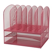 Adir Office Pink Mesh Desk Organizer with Two Horizontal and Six Upright Sections (634-PNK)
