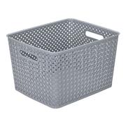 Simplify's  Large Resin Wicker Storage Bin in Grey
