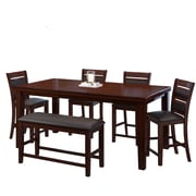CorLiving 6pc Counter Height Extendable Dining Set Brown Wood and Brown Leather (DWG-880-Z3)