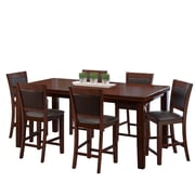 CorLiving 7pc Counter Height Extendable Dining Set Brown Wood and Brown Leather (DWG-880-Z2)