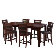CorLiving 7pc Counter Height Extendable Dining Set  Brown Wood and Brown Leather (DWG-880-Z4)