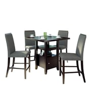 """CorLiving Bistro 5pc 36"""" Counter Height Cappuccino Dining Set - Pewter Grey (DPP-690-Z2)"""