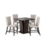 "CorLiving Bistro 5pc 36"" Counter Height Cappuccino Dining Set - Tufted Platinum Sage (DWP-390-Z1)"