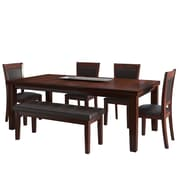 CorLiving 6pc Extendable Dining Set - Warm Brown Wood and Chocolate Bonded Leather (DWG-680-Z1)